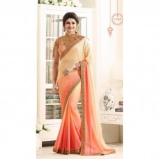 17705 CREAM AND ORANGE KASEESH PRACHI GEORGETTE SAREE WITH HEAVY EMBROIDERED BLOUSE