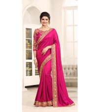 17706 BRIGHT FUCHSIA KASEESH PRACHI GEORGETTE SAREE WITH HEAVY EMBROIDERED BLOUSE