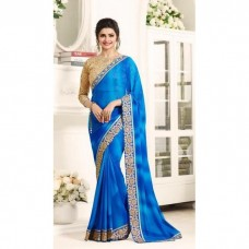 17707 NEBULAS BLUE KASEESH PRACHI GEORGETTE SAREE WITH HEAVY EMBROIDERED BLOUSE