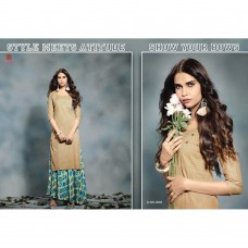 2003 BEIGE KAIRA STRAIGHT COTTON READY MADE KURTI