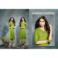 2001 GREEN KAIRA STRAIGHT COTTON READY MADE KURTI