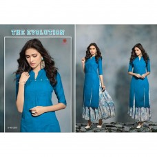2007 BLUE KAIRA STRAIGHT COTTON READY MADE KURTI