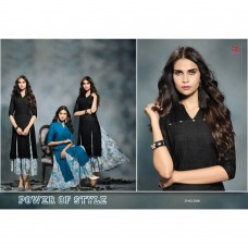2006 BLACK KAIRA STRAIGHT COTTON READY MADE KURTI