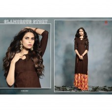 2004 BROWN KAIRA STRAIGHT COTTON READY MADE KURTI