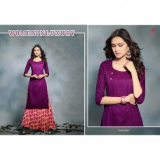 2008 PURPLE KAIRA STRAIGHT COTTON READY MADE KURTI