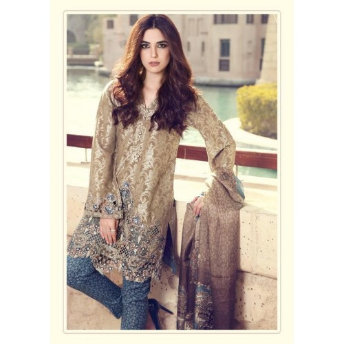 c9a49f0cda46 55002 BROWN MARIA B LAWN EMBROIDERED AND PRINTED PAKISTANI STYLE SUIT