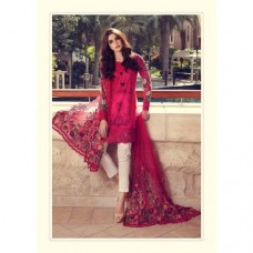 55001 DARK PINK MARIA B LAWN EMBROIDERED AND PRINTED PAKISTANI STYLE SUIT ( READY MADE)