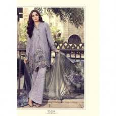 55004 QUIET GREY MARIA B LAWN EMBROIDERED AND PRINTED PAKISTANI STYLE SUIT ( READY MADE)