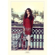 55005 RED AND WHITE MARIA B LAWN EMBROIDERED AND PRINTED PAKISTANI STYLE SUIT ( READY MADE)