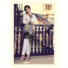 55006 BLACK AND WHITE MARIA B LAWN EMBROIDERED AND PRINTED PAKISTANI STYLE SUIT ( READY MADE)