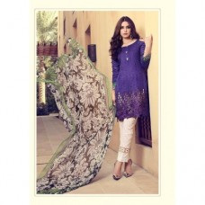 55007 ULTRA VIOLET AND WHITE MARIA B LAWN EMBROIDERED AND PRINTED PAKISTANI STYLE SUIT ( READY MADE)