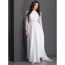 AC-37 WHITE FLOOR LENGTH DESIGNER READY MADE DRESS