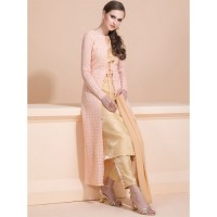 STUNNING PEACH AND GOLD READYMADE SUIT