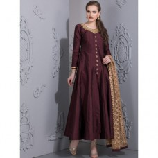 AC-76 PLUM KALIDAAR EMBROIDERED READY MADE DRESS