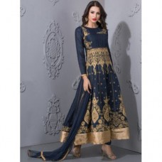 NAVY BLUE WITH GOLD EMBROIDERY ANARKALI WEDDING STYLE SUIT
