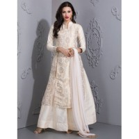 WHITE IVORY PRINTED BROCADE LENGHA SUIT