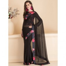 ACS-13 BLACK STONE EMBELLISHED SAREE WITH READY STITCHED BLOUSE (READY MADE)