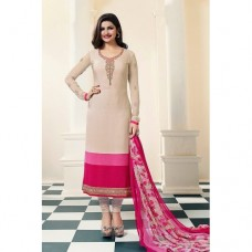 4563 ALMOND BUFF AND PINK KASEESH SILKINA ROYAL CREPE PARTY WEAR SUIT