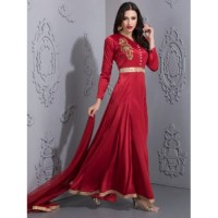 RED MAXI EVENING GOWN