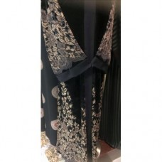 Black Embroidered Velvet Abaya