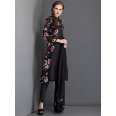 IDC-17 BLACK FLORAL PRINTED JACKET STYLISH SUIT WITH PENCIL TROUSER