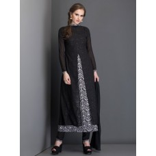 IDC-21 ELEGANT BLACK SHEER LAYERED JACKET WITH PRINTED INNER MAXI STYLE DRESS