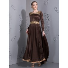 BROWN ROYAL LONG GOWN (READY MADE)