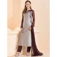 GREY AND PLUM CONTRAST SUIT WITH LACE SLEEVES AND THREAD WORK