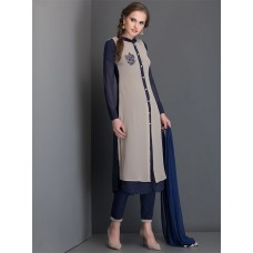NAVY BLUE SLIT STYLE KAMEEZ AND PENCIL TROUSER FULLY STITCHED SUIT