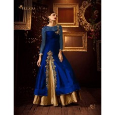 BLUE AND GOLD PREMIUM SILK EMBROIDERED READY MADE DRESS (LARGE SIZE)