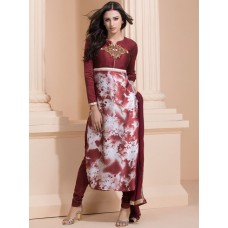 AUBURN RED EMBROIDERED BODICE WITH PRINTED LOWER CHURIDAAR READY MADE STYLISH SUIT