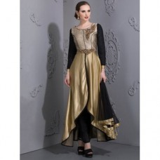 GOLD ASYMMETRICAL DRESS WITH BLACK CONTRAST ( READYMADE )