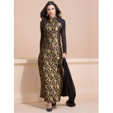BLACK AND GOLD BROCADE PARTY WEAR DRESS (READY MADE SUIT)