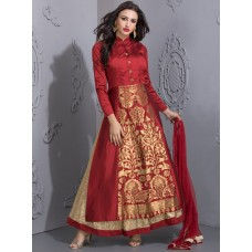 MAROON RICK BROCADE WEDDING WEAR READY MADE DRESS