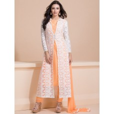 WHITE AND PEACH LACE JACKET STYLE READY MADE DRESS