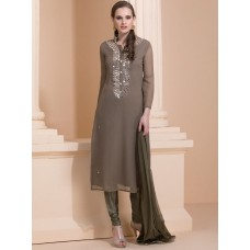 MOUSE COLOUR EARTH TONE SUIT WITH DELICATE MIRROR WORK READY TO WEAR