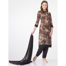 STUNNING BLACK AND BROWN FLORAL POLYESTER READY MADE DRESS