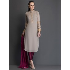 QUIET GREY CUT KURTA AND PLUM CHURIDAAR READY MADE SUIT