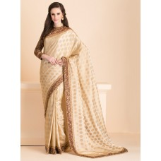 ZIDS-17 SUBTLE BEIGE SAREE WITH A JACKET STYLE FULL SLEEVES BLOUSE (READY MADE)