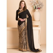 IDS-18 BLACK WEDDING WEAR SAREE WITH READY STITCHED BLOUSE