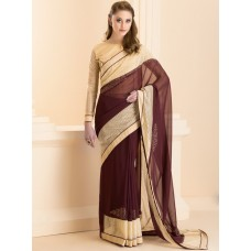 CHOCOLATE BROWN LOVELY OCCASION WEAR SAREE (READY MADE)