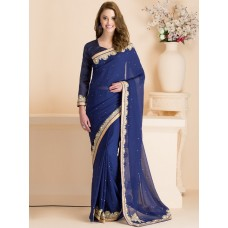 IDS-08 BLUE PARTY WEAR SAREE WITH FULL SLEEVE BLOUSE (READY MADE)