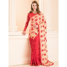 IDS-21 RED AND BEIGE HALF AND HALF PARTY WEAR READY MADE SAREE