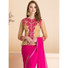 IDS-12 PLAIN PINK PARTY WEAR SAREE WITH STITCHED JACKET STYLE BLOUSE (READY MADE)