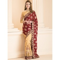 IDS-23 MAROON STUNNING FORMAL HALF AND HALF SAREE WITH DELICATELY EMBROIDERED BLOUSE