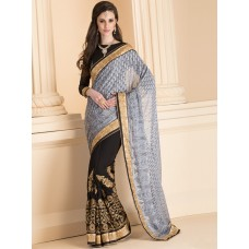 IDS-22 GREY AND BLACK HALF AND HALF SAREE WITH FULL SLEEVE BLOUSE