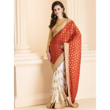 ZIDS-24 RED AND WHITE CONTRAST HALF AND HALF SAREE WITH GOLD BLOUSE