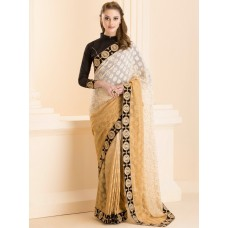 IDS-25 BEIGE OMBRE SHADED SAREE WITH READY STITCHED BLOUSE