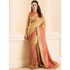ZIDS-28 PEACH BROCADE SAREE WITH MATCHING BLOUSE