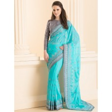 IDS-30 SILVER EMBROIDERED BORDER PARTY WEAR SAREE WITH ORNATE JACKET STYLE BLOUSE (READY MADE)